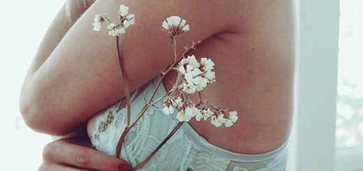 Women In Bra With Flowers